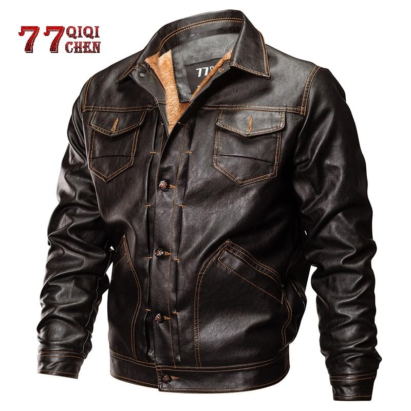 Chaquetas de cuero de PU para invierno, chaqueta militar táctico para hombre, chaqueta militar cálida para piloto, chaqueta gruesa de lana para motociclista