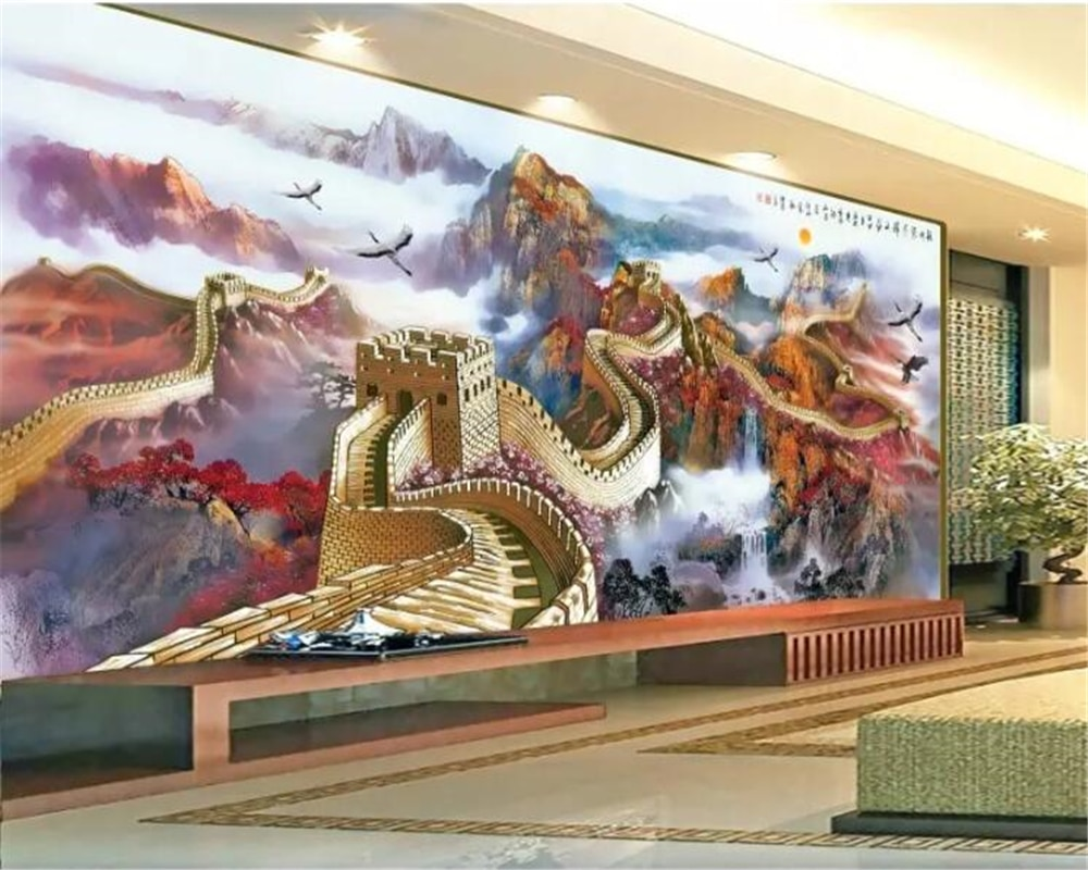 Beibehang papeles de pared de fotos personalizados mural 3d Miles Great Wall paisaje chino magníficas montañas y ríos TV papel tapiz 3d