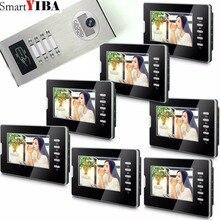 "Smartyiba 7 ""비디오 인터폰 초인종 아파트 문 전화 + 8 모니터 ir 카메라 8 가족 + rfid 액세스 시스템"