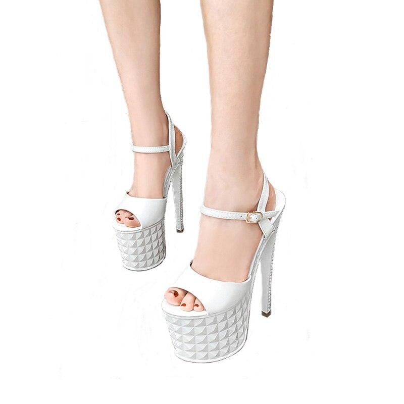 Zapatos y sandalias de mujer, Ultra alto Sandalias de tacón de 19cm, zapatos de Stripper Sexy, sandalias gladiador de plataforma de 9cm, zapatos de fiesta de verano