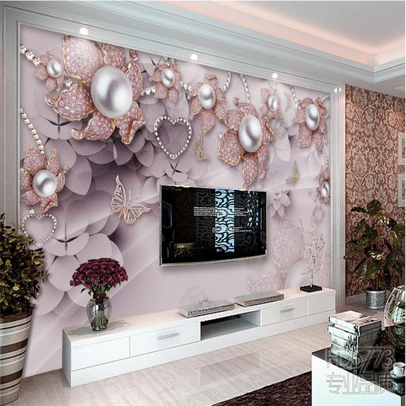 Beibehang personalizado foto papel de parede 3d mural requintado luxo jóias flores instalado tv pano fundo