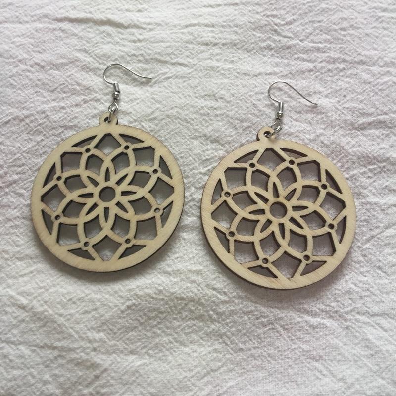 nature wood finish hoop laser cut wood earrings