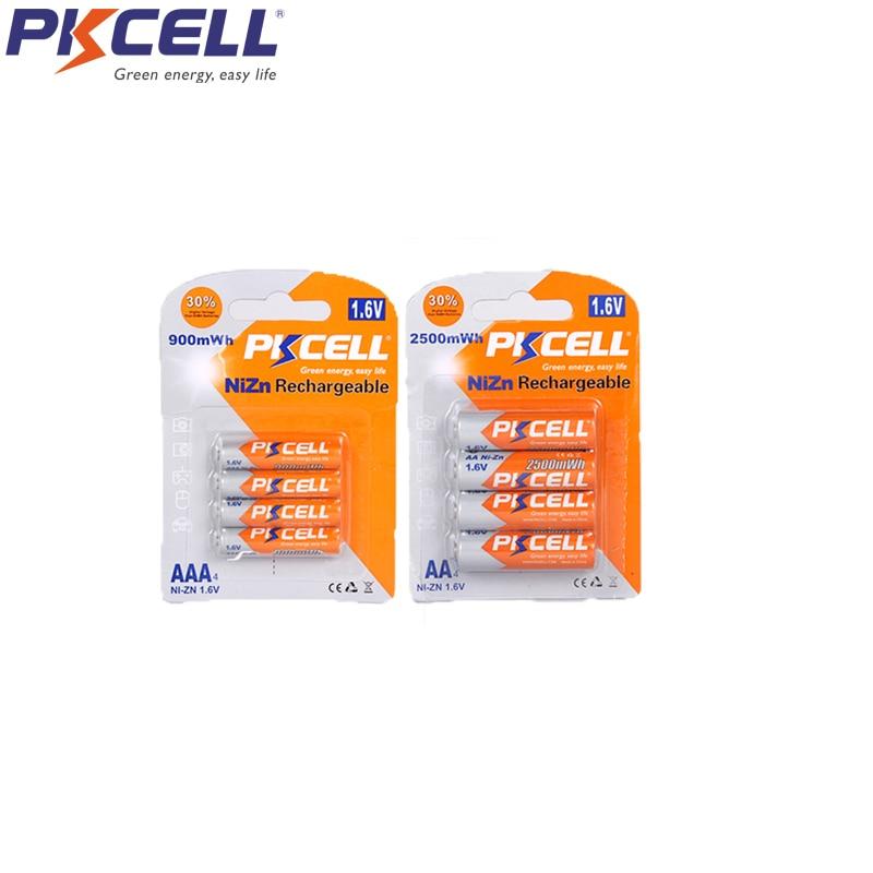 PKCELL 4 Uds NIZN AA batería recargable aa 2500mWh y 4 Uds ni-zn pilas AAA 900mWh 1,6 v más alto 1,8 v