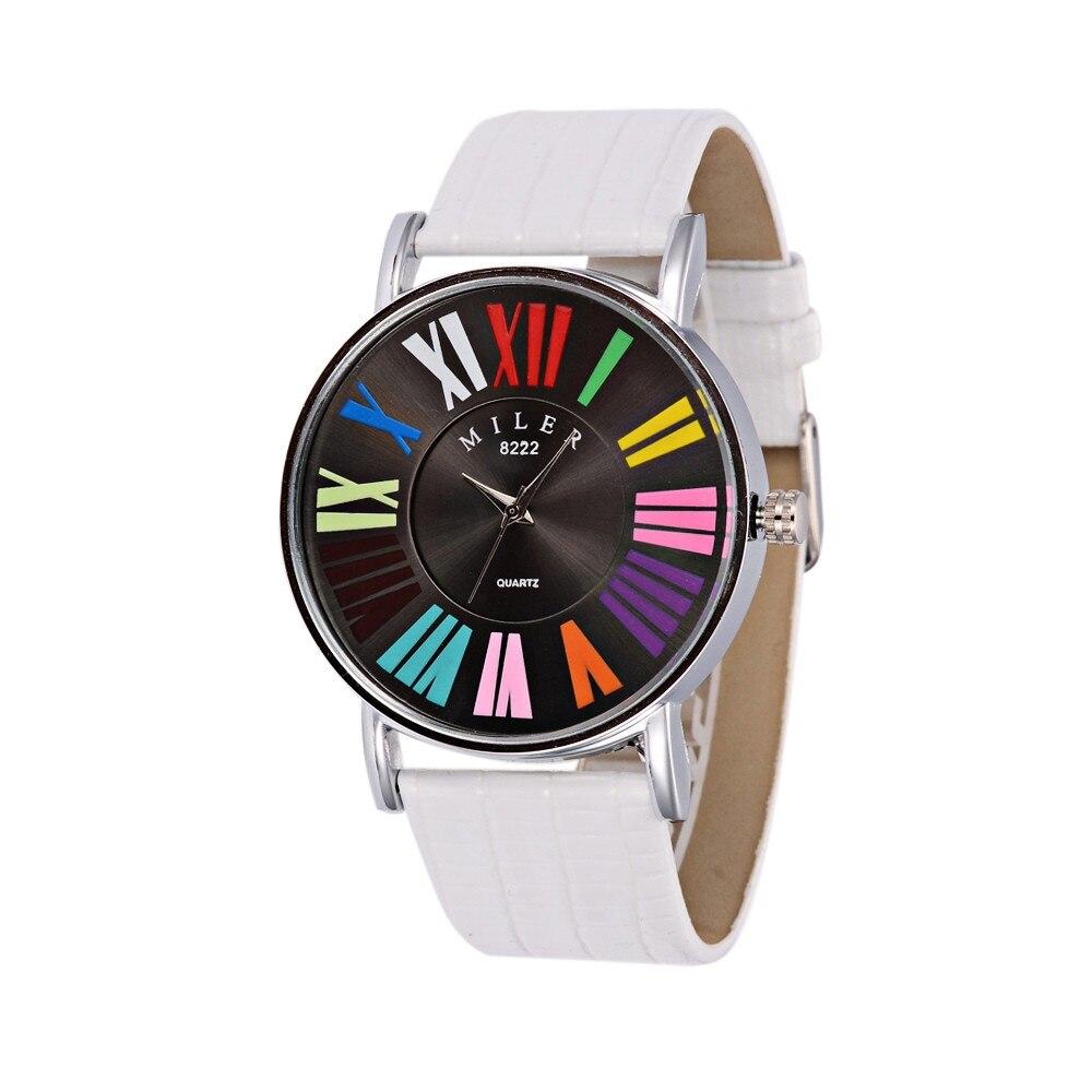 Женские кварцевые часы в римском стиле, цветные кожаные Наручные часы для женщин, Montre Femme, Relogio Feminino, черный/белый/красный/оранжевый