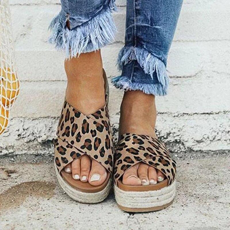 Sexy Leopard Sommer Sandalen Frauen Hausschuhe Peep Toe Plattform Casual Schuhe Frau Strand Flip-Flops Weibliche Slides Sandalia Feminina