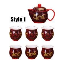 Drachen Muster Keramik Teasets 1 Teekanne + 6 stücke Tee Tasse Tee Sets