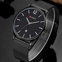 Fashion Top Brand Luxury Quartz watch Casual men quartz-watch stainless steel Mesh strap ultra thin clock male relogio masculino
