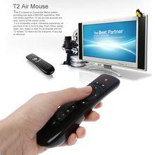 2.4GHz mouche Air souris T2 télécommande sans fil avec Microphone micro recherche vocale pour 3D Gyro mouvement Stick pour Smart TV Box