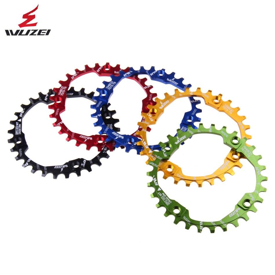 WUZEI рукоятка велосипеда 104BCD круглая форма узкий широкий 30T MTB звездочки 7075-T6 велосипед цепь колеса велосипед круг коленчатый набор одна пластина