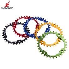 WUZEI Fahrrad Kurbel 104BCD Runde Form Engen Breite 30T MTB Kettenräder 7075-T6 Bike Kettenblatt Bike Kreis Kurbel Einzigen Platte