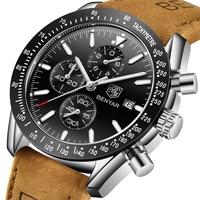 2019 Watch Men Luxury Brand BENYAR Mens Blue Watches Leather Band Wrist Watches Men's Chronograph Watch Male Relogio Masculino