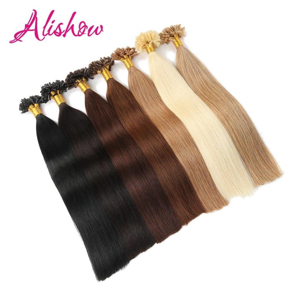 Alishow, extensiones de cabello humano Remy con punta en U de queratina preconsolidada de 100 hebras, 1 g/h, 100g/paquete, Clavo recto para cabello con punta
