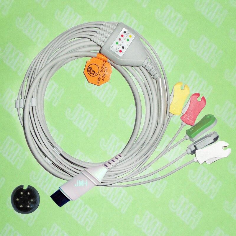 Compatible con 6pin BCI CSI GE Nellcor... Nihon Kohden y HP máquina de ECG de una pieza 5 cable clip leadwire IEC o AHA