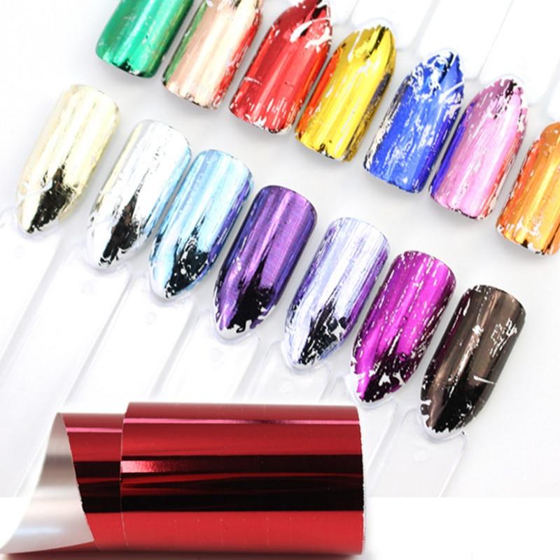 14 unids/set de láminas para uñas pegatinas para uñas Color Metal cielo estrellado Transfer Foil Wraps adhesivo arte de uñas calcomanías decoraciones