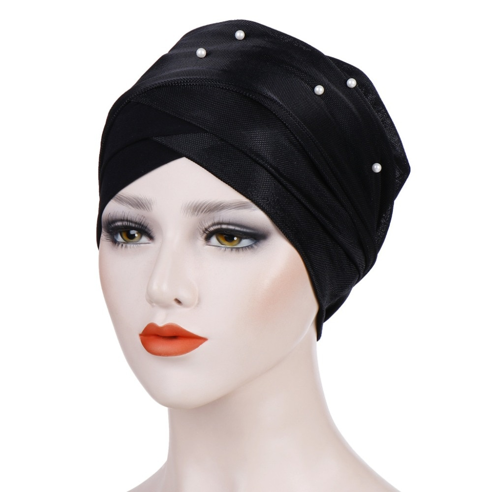 Muslim Women Bright Wire Cotton Bead Cross Turban Hat Headwear Cancer Chemotherapy Chemo Beanies Caps Headwrap Hair Accessories new women stretch solid ruffle turban hat scarf knotted chemo beanie caps headwrap for cancer chemotherapy hair loss accessories
