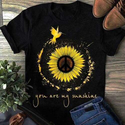 Hippie Sunflower Hummingbird You Are My Sunshine T Shirt Black Cotton Men S-6XLCartoon t shirt men Unisex New Fashion tshirt