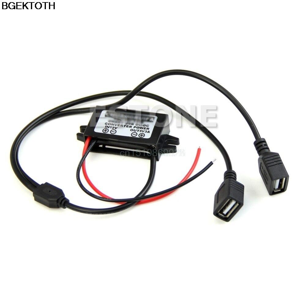 Convertidor de energía USB Dual DC 12V a 5V 3A para IPHONE regulador de coche reductor