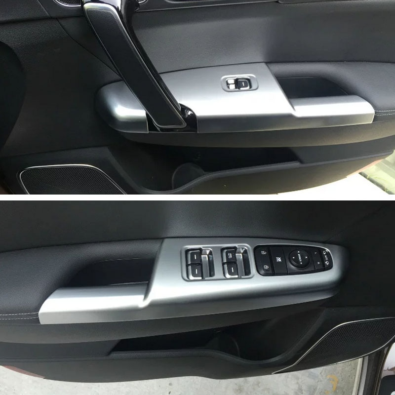Free Shipping Chromed ABS Plastic Interior 4PCS Door Window Holder Switch Trim For Kia Sportage KX5 2016 2017