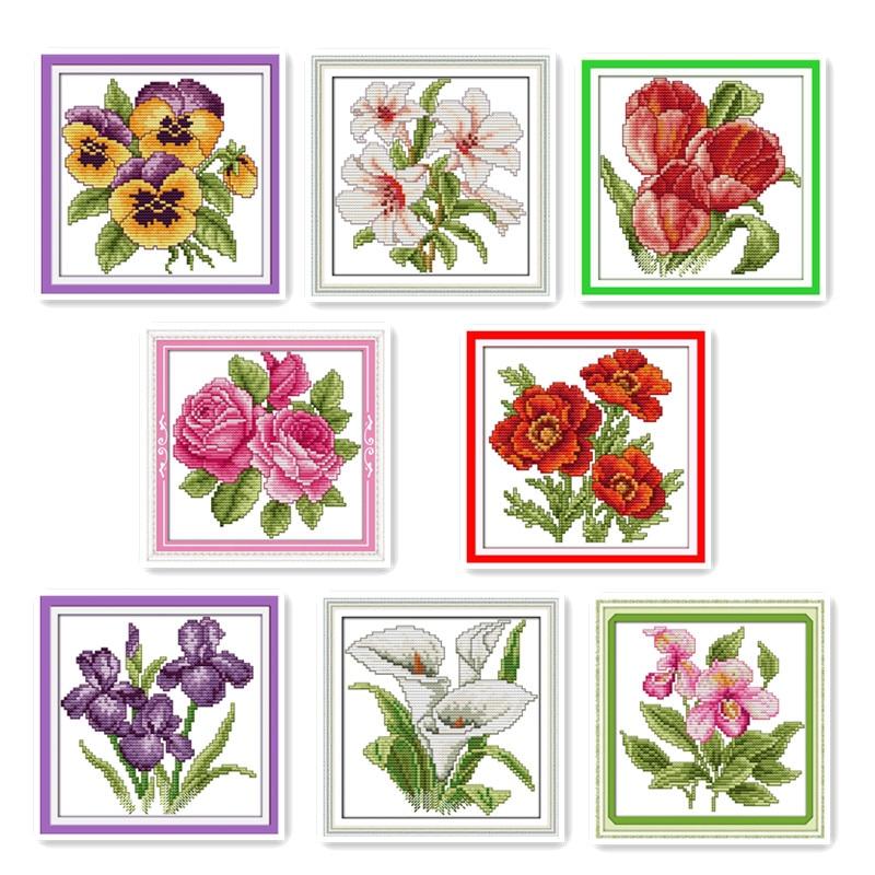 Kit de bordado de punto de cruz con flores pequeñas y diseños decorativos para la familia, juegos de costura bordados