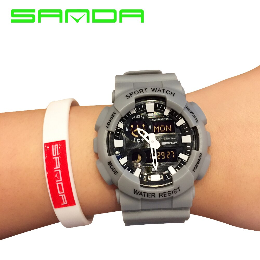 Sanda, nuevo reloj deportivo para hombre, a la moda, militar, para exteriores, reloj de pulsera automático resistente al agua, de alta calidad, reloj de choque famoso para mujer G
