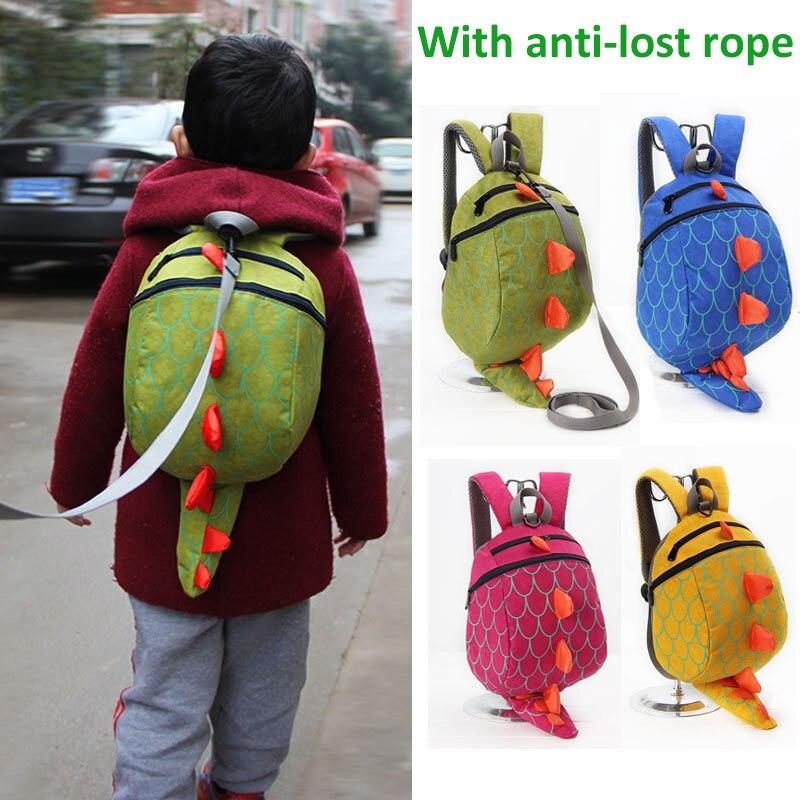 Cartoon Dinosaur Anti lost Backpack Baby Toddler Anti-lost Reminder Leash Harness Strap Walker Kids Kindergarten Schoolbag Bag