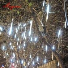 30 cm 144 LED/50 cm 240 LED lumière météore douche chute de pluie chute de neige chute de noël guirlandes lumineuses, arbre extérieur, 8 tubes/ensemble