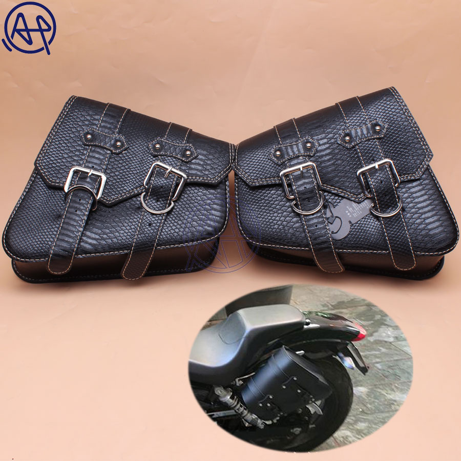 For Honda Yamaha Suzuki Harley Sportster XL 883 PU Crocodile Leather Style Saddle Bag Motorcycle Luggage Eagle Side Saddle Bag