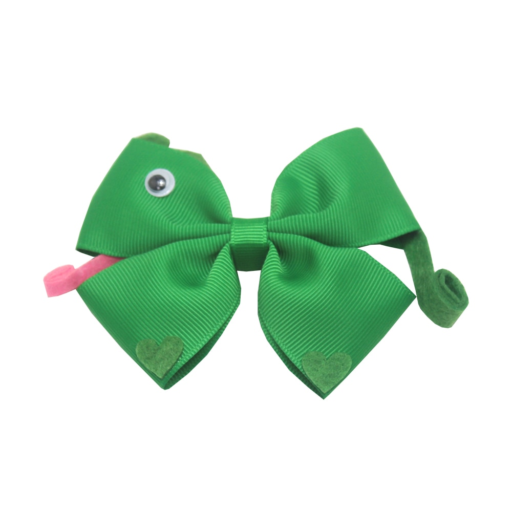 4 polegada modelagem é adorável cobra verde exclusivo artesanato diy bowknot hairpin boutique acessórios de cabelo barato grampos de cabelo
