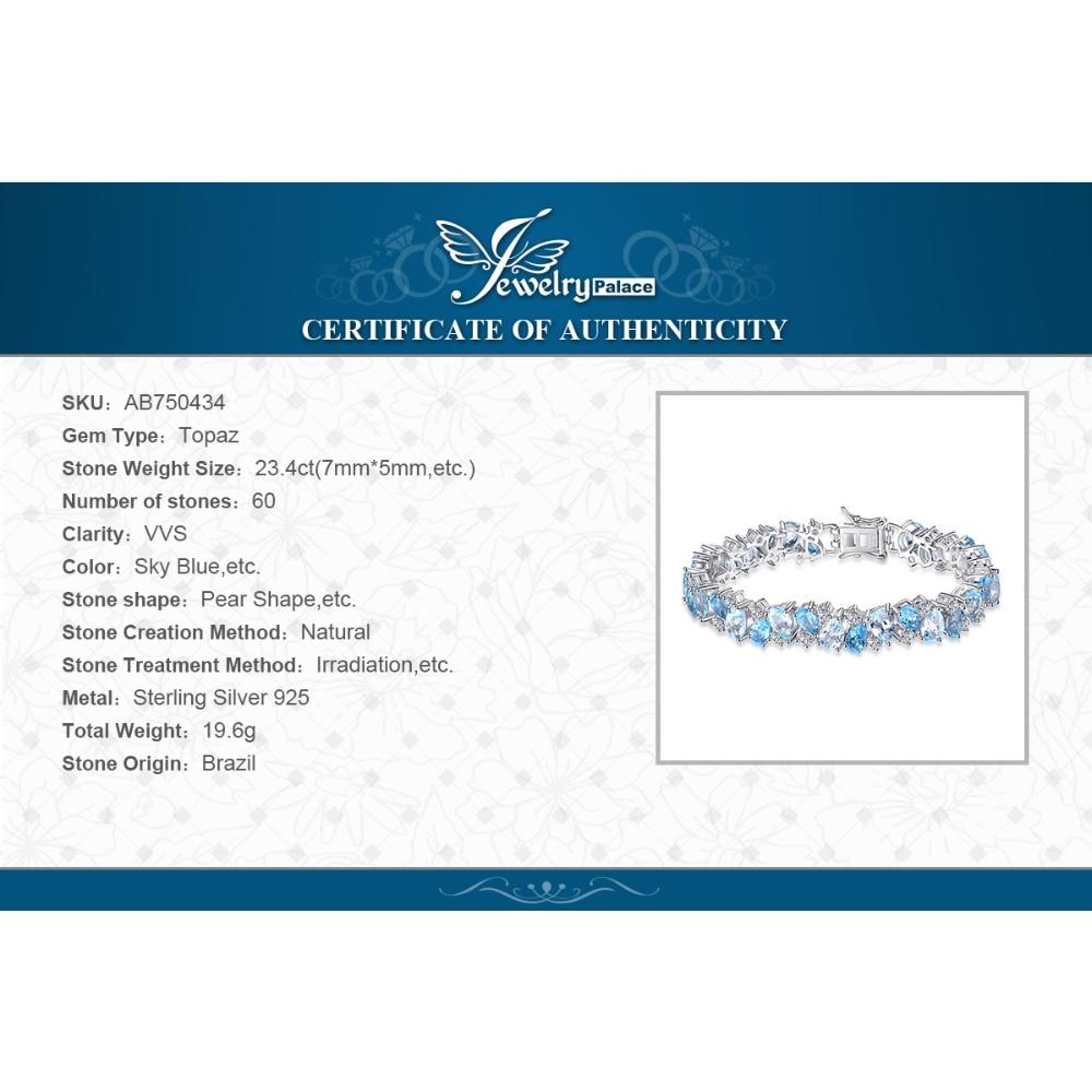 Купить с кэшбэком HUGE 23ct Natural London Blue Topaz 925 Sterling Silver Bracelet Tennis Gemstones Bracelets For Women Silver 925 Jewelry Making
