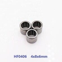 100pcs/lot HF0406 4x8x6 mm Drawn Cup One Way Clutch Needle roller Bearing 4*8*6mm
