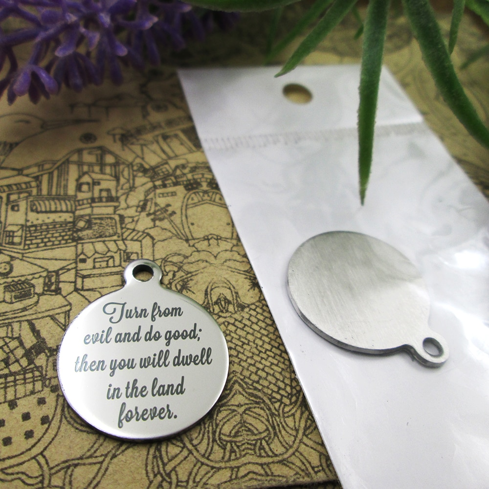 """20pcs--""""the righteous will inherit the land...""""stainless steel charms styles for choosing DIY Charms Bible gold sentence"""