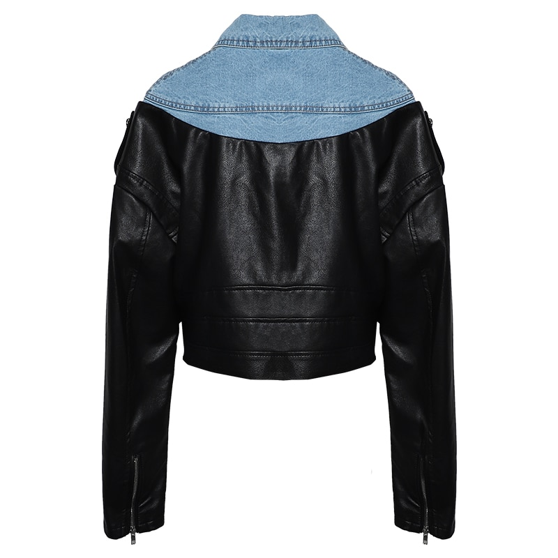 Jaqueta Couro Turn-down Collar Jaqueta De Couro Real Casual Full Leather Jacket Women Spring New Female 2018 Denim Stitching Pu enlarge