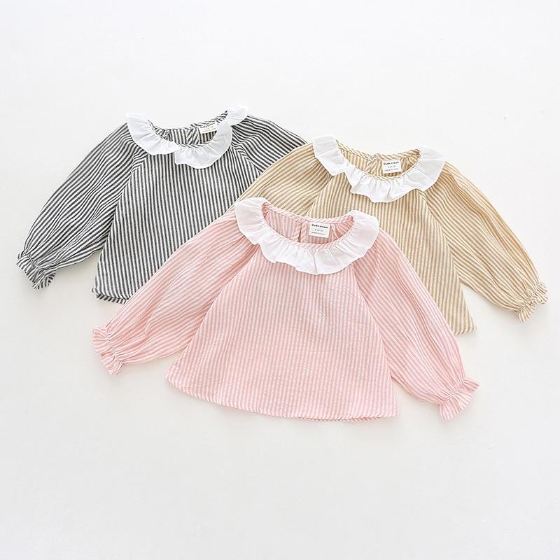 Autumn new children's shirt girl lotus leaf collar cotton shirt Korean children's striped shirt