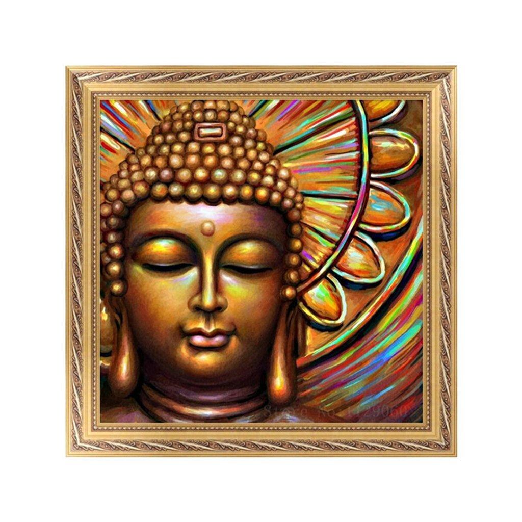 Diy pintura de diamantes 5D, pintura de Buda por números, pintura de bordado de diamantes, Kit de punto de cruz, decoración Diy para el hogar de 30x30 Cm de colores