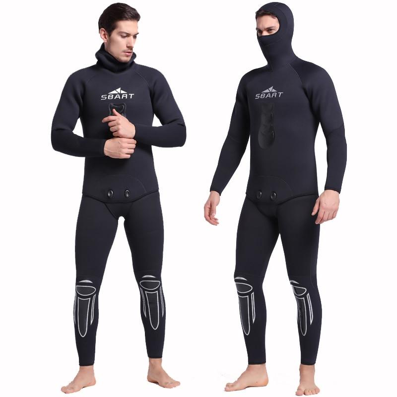 SBART 5mm Neoprene Hooded Wetsuit Two-Piece Warm Suit Swimwear For Scuba Diving Equipment Spearfishing Snorkeling Wet Suits