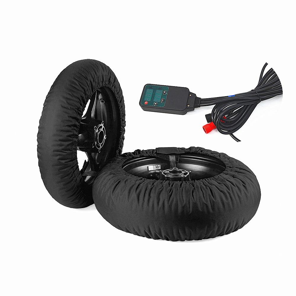 طقم مُدفئ لإطارات الدراجة النارية 120/200 17 إطار للسباق الأمامي والخلفي مع علبة رقمية يمكن ضبطها