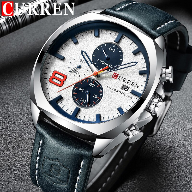 CURREN Watch Men Waterproof Chronograph Sport Military Male Clock Top Brand Luxury Leather Man Wristwatch Relogio Masculino 8324