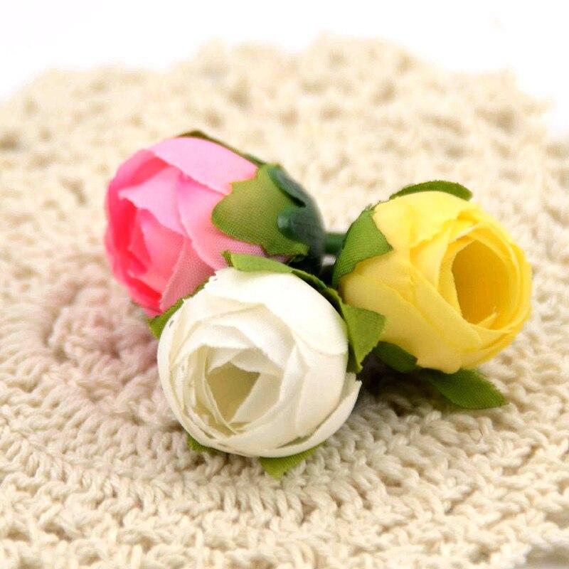 30 piezas Real Touch seda Artificial flor cabeza Camelia Buds boda decoración del hogar corona caja de regalo DIY accesorios flores falsas