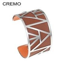 Cremo Bracelet Femme Argent pyramide manchette Bracelets mode acier inoxydable Bracelets interchangeables réversible Bracelet en cuir