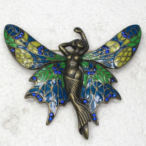 Broches de broche de mariposa esmaltados con diamantes de imitación azules de bronce antiguo C877 B4