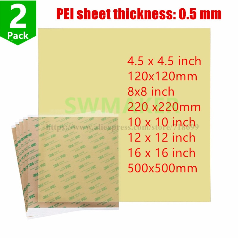 2pcs Ultem1000 Polyetherimide PEI Sheet with 468MP Adhesive Tape 10''/12''/16''/8''120/220/500mm for 3D Printer Build Surface