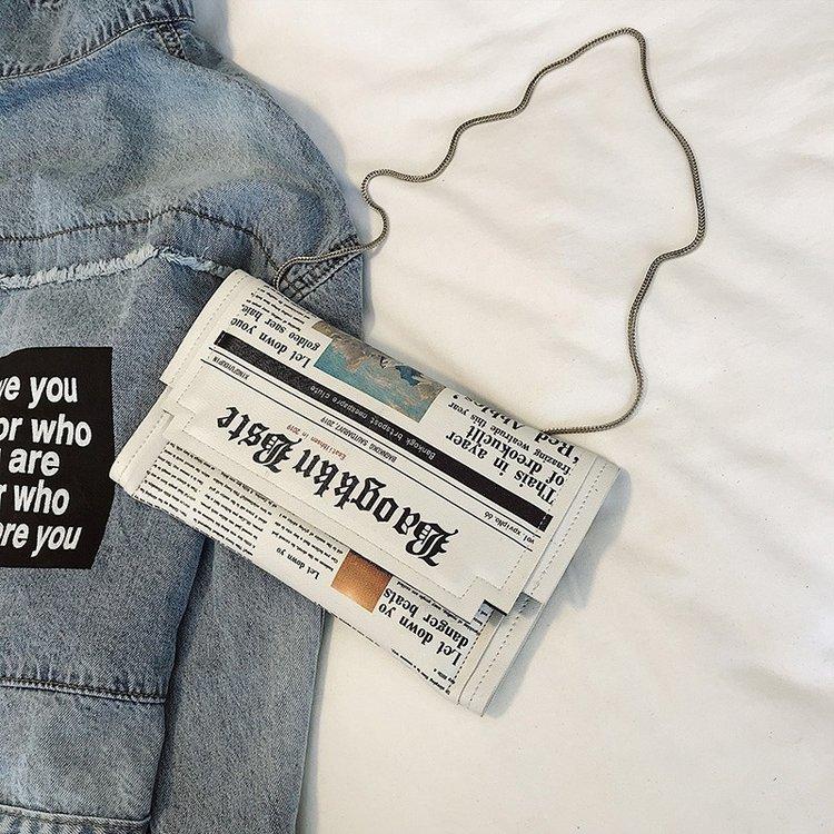 Dia de modelagem de jornais sacos de embreagem carta envelope saco de ombro casual bolsa sacos de noite com vestuário carteira
