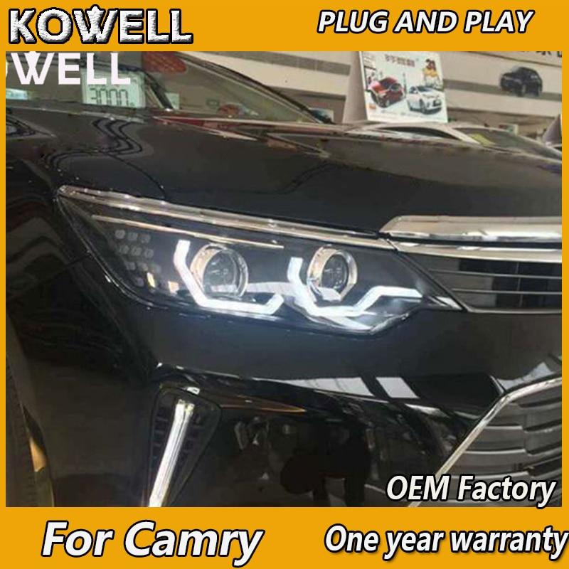 KOWELL Car Styling para Toyota Camry faros led 2015 2016 2017 para Camry V55 drl H7 hid bi-xenon lente ojo de Ángel luz baja