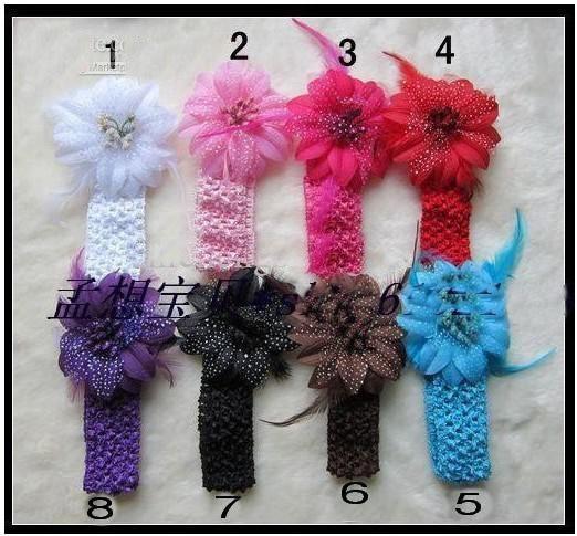 800pcs/lot Christmas flowers +1.5 inch headband hair accessories headwear 8 -color