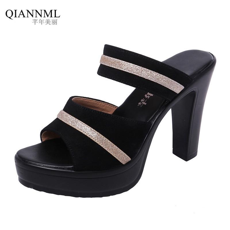 Plus Size 32-43 Open Head Block Heel Shoes Summer Slippers Woman 2019 High Heels Slides Women Office Shoe Platform Slippers