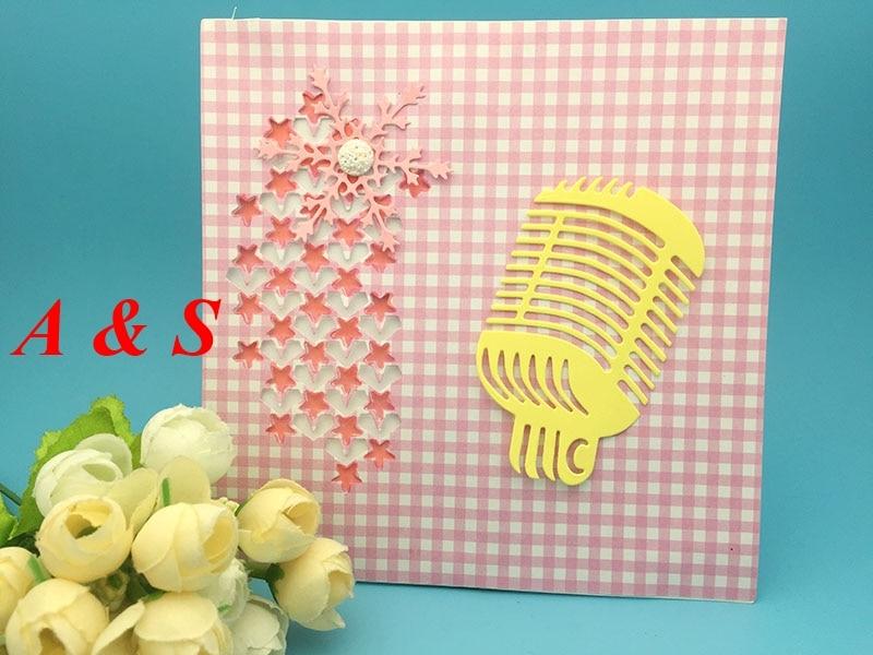 S42 matrices de découpe en métal Microphone   Tube vocal, cadeau, carte album mariage, artisanat papier décor maison, gaufrage, pochoir poinçon