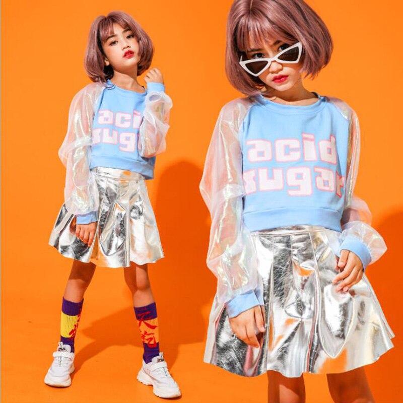 Niños lentejuelas sudadera falda plateada baile de hip hop desgaste trajes de baile de jazz chicas ropa de baile de salón trajes