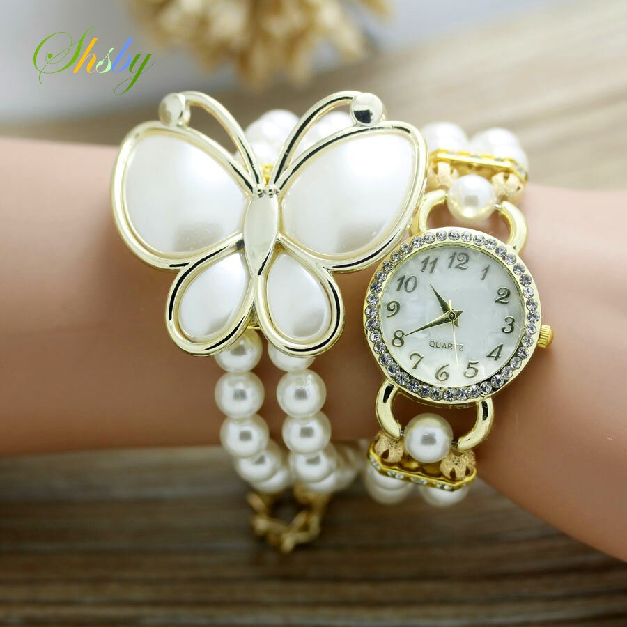 shsby New Fashion Women dress Watches Ladies pearl chain white flower bracelet quartz wristwatches Rhinestone