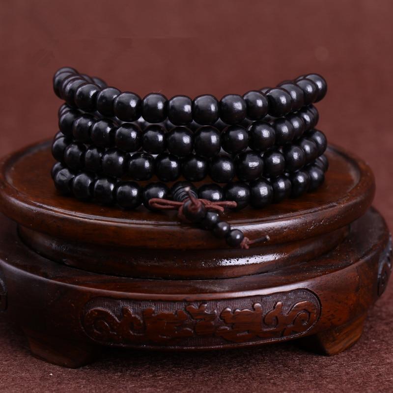Мужской браслет из черного дерева, 108*0,8/0,6 см, буддистские четки из натурального черного дерева, буддистские четки