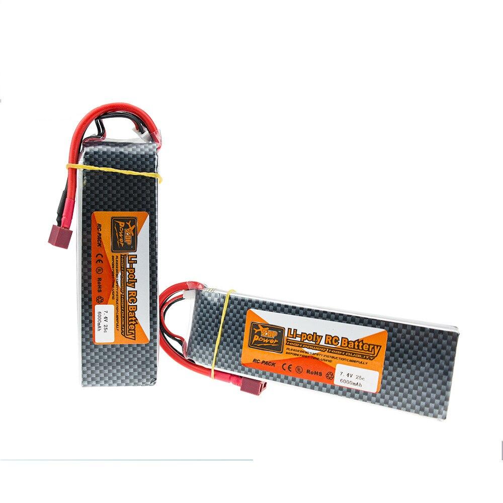 1 Uds batería ZOP Lipo 7,4 V 6000MAH 25C 2S TPlug para drones de control remoto en miniatura helicópteros aviones coches barco batería